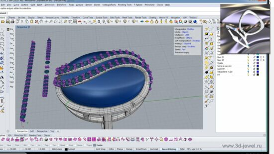 Ювелирное кольцо с волнообразными полосками камней поверх овальной вставки в Райно 3д