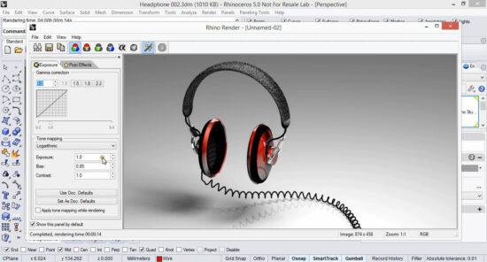 Наушники созданные в Рино 3д и отвизуализированные с помощью штатного рендера программы