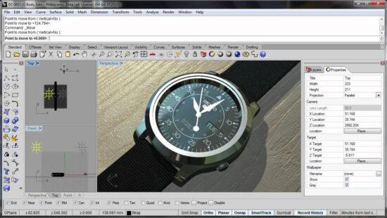 Наручные мужские часы в режиме интерактивного рендера в Rhinoceros в окне проекции программы